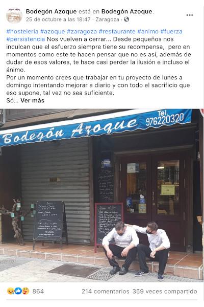 Facebook restaurante azoque Zaragoza